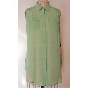 FOREVER 21 MINT HIGH-LOW BUTTON DOWN SHIRT L